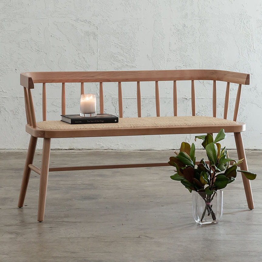 NEWFIELD SLATTED BACK BENCH SEAT  |  NATURAL with NATURAL RATTAN SEAT  |  CAFE BENCH CHAIR