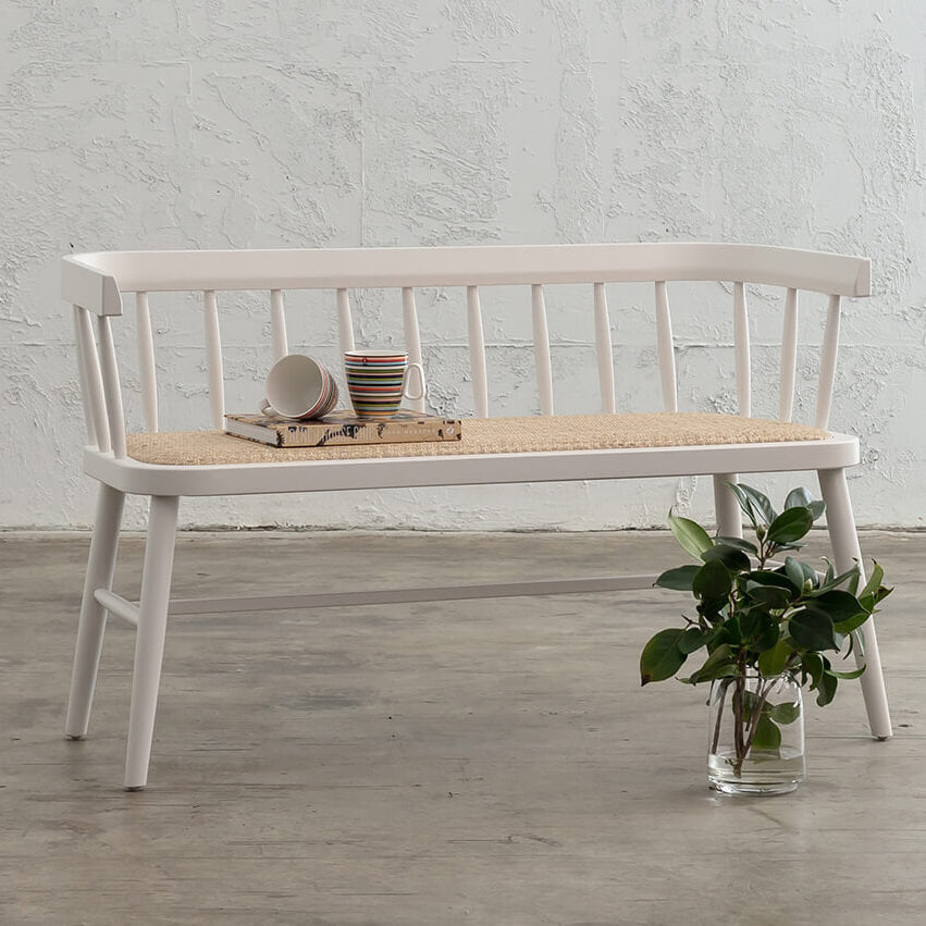 NEWFIELD SLATTED BACK BENCH SEAT  |  WHITE with NATURAL RATTAN SEAT  |  CAFE BENCH CHAIR COLLECTION