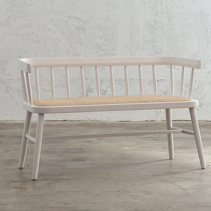 PRE ORDER  |  NEWFIELD SLATTED BACK BENCH SEAT  |  WHITE + NATURAL RATTAN SEAT