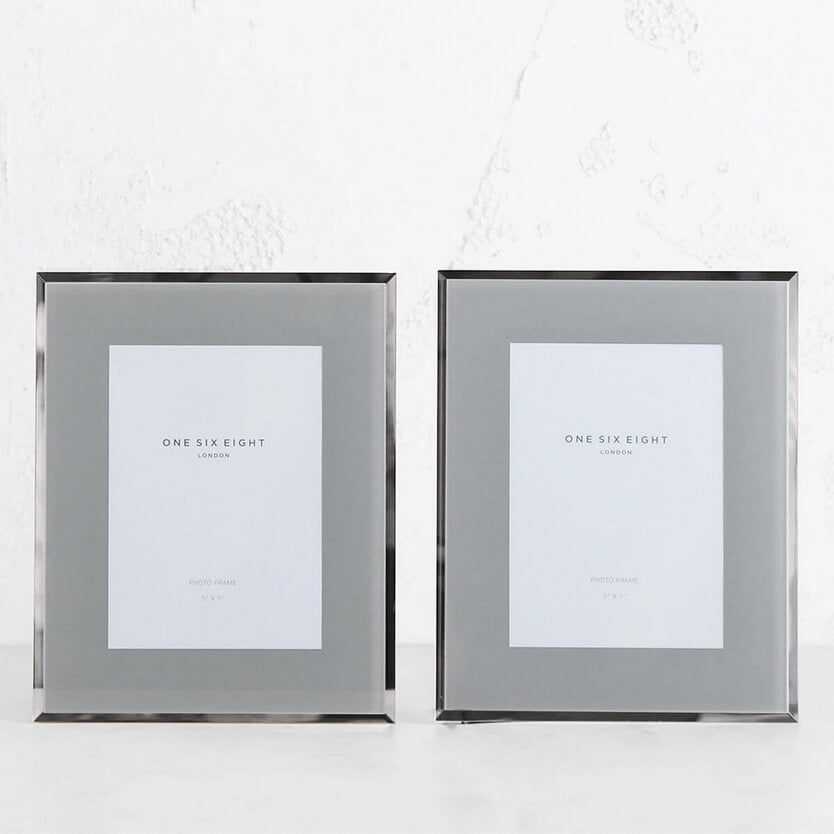 ONE SIX EIGHT LONDON  |  GLASS PHOTO FRAME  | GREY + SILVER EDGE | 5 x 7 IN. SET OF 2
