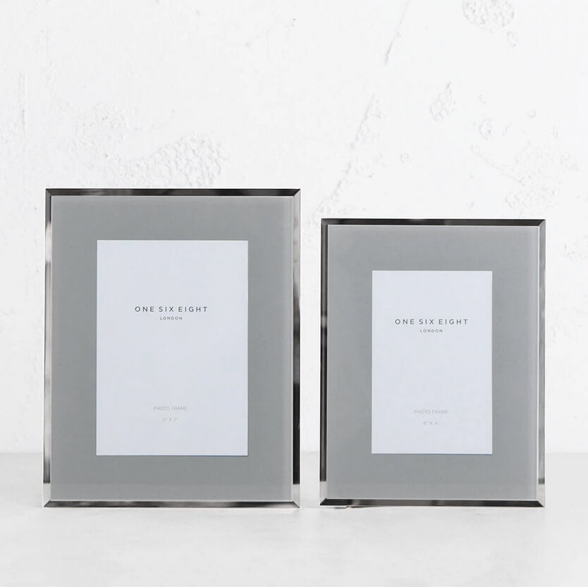 ONE SIX EIGHT LONDON  |  GLASS PHOTO FRAME  | GREY + SILVER EDGE | 5 x 7 IN. + 6 X 4 IN. SET OF 2