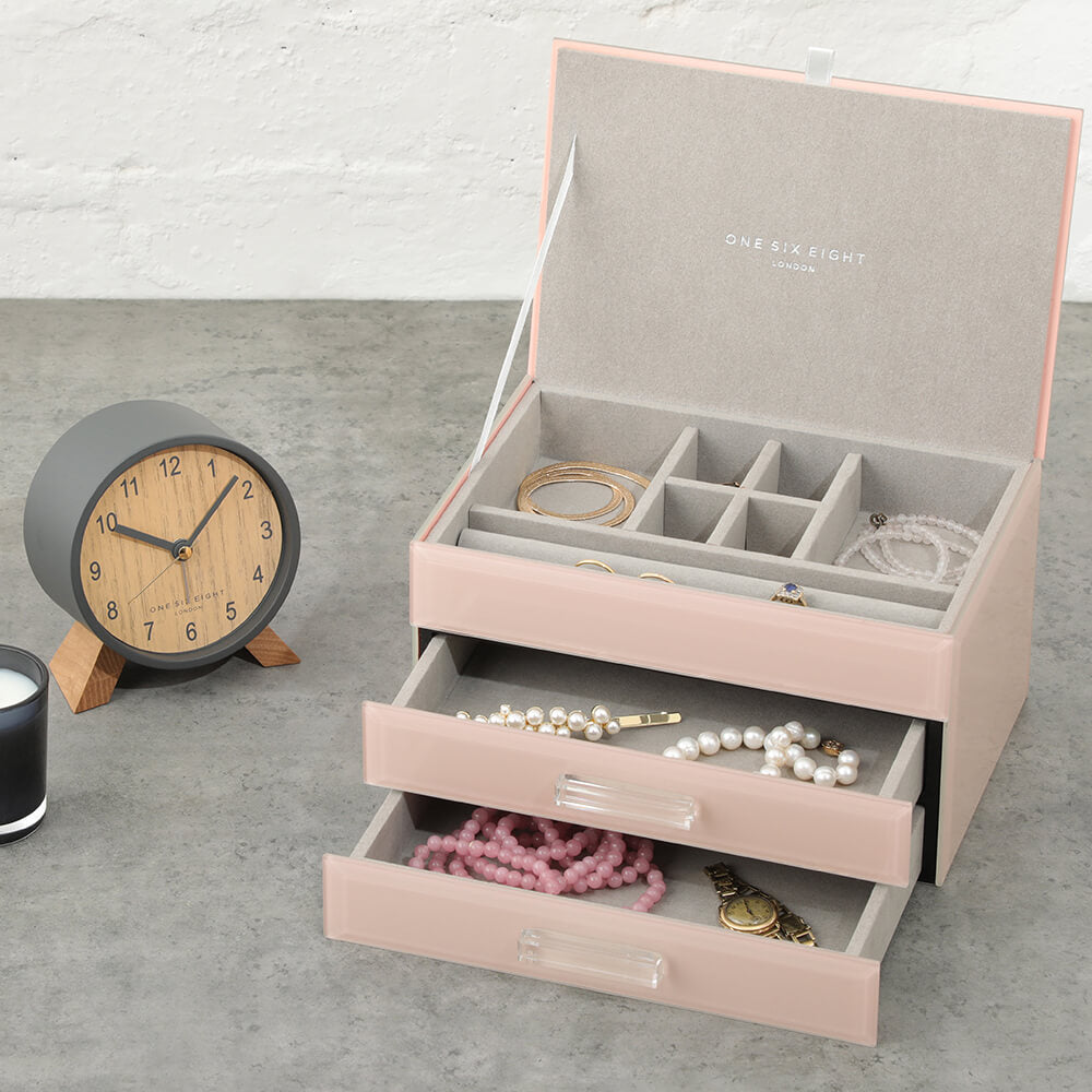 ONE SIX EIGHT LONDON  |  GABRIELLA GLASS JEWELLERY BOX  |  BLUSH MEDIUM
