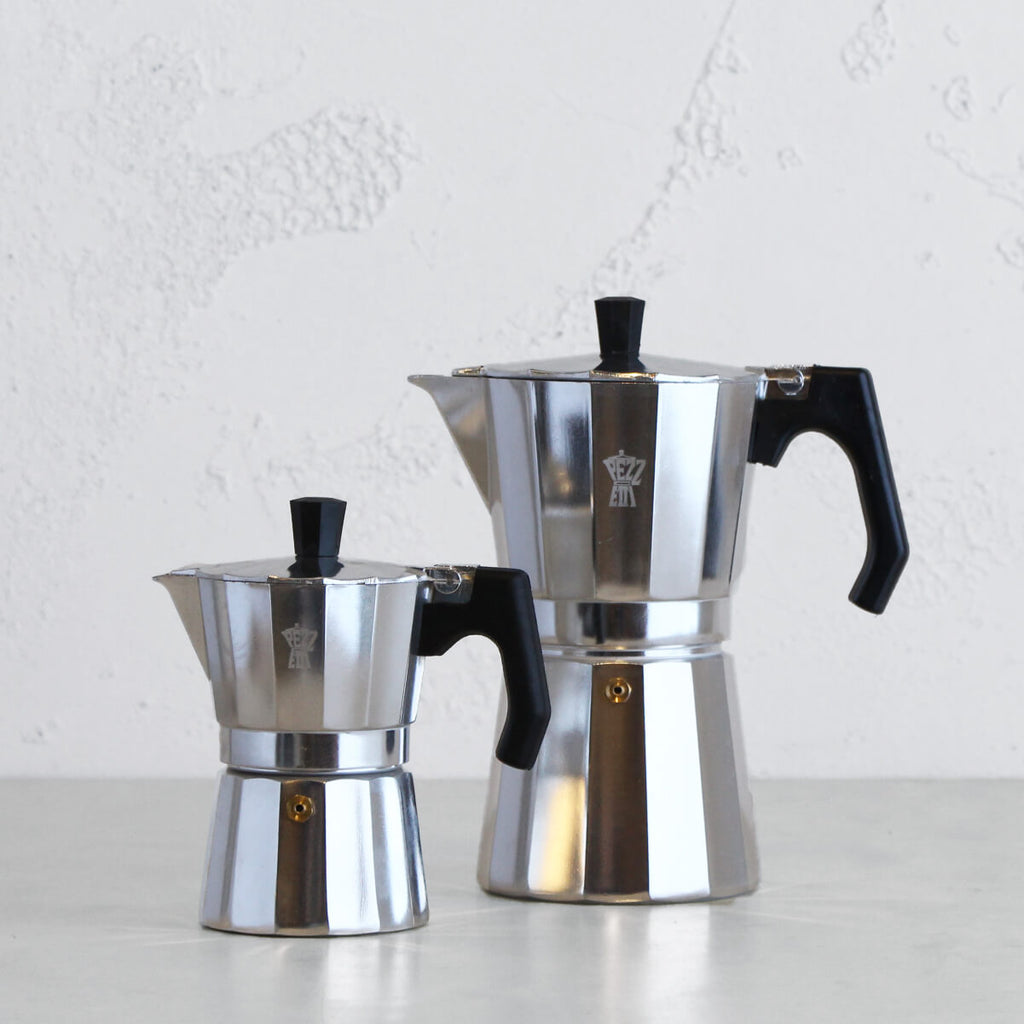 PEZZETTI LUXEXPRESS ITALIAN COFFEE MAKER  |  3 + 9 CUP PACKAGE  |  ALUMINIUM