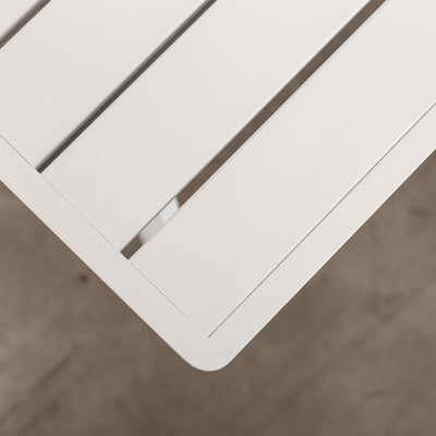 PALOMA OUTDOOR SLATTED DINING TABLE   |  WHITE ALUMINIUM  |  OUTDOOR FURNITURE SETTING TOP CLOSEUP