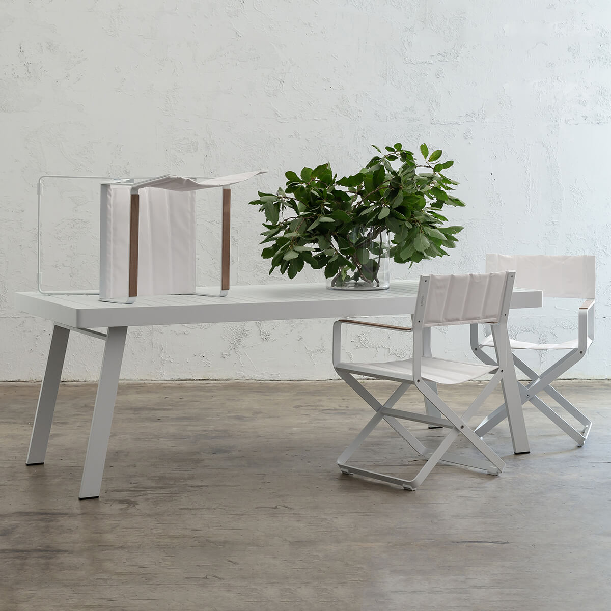 PALOMA OUTDOOR SLATTED DINING TABLE   |  WHITE ALUMINIUM  |  220CM