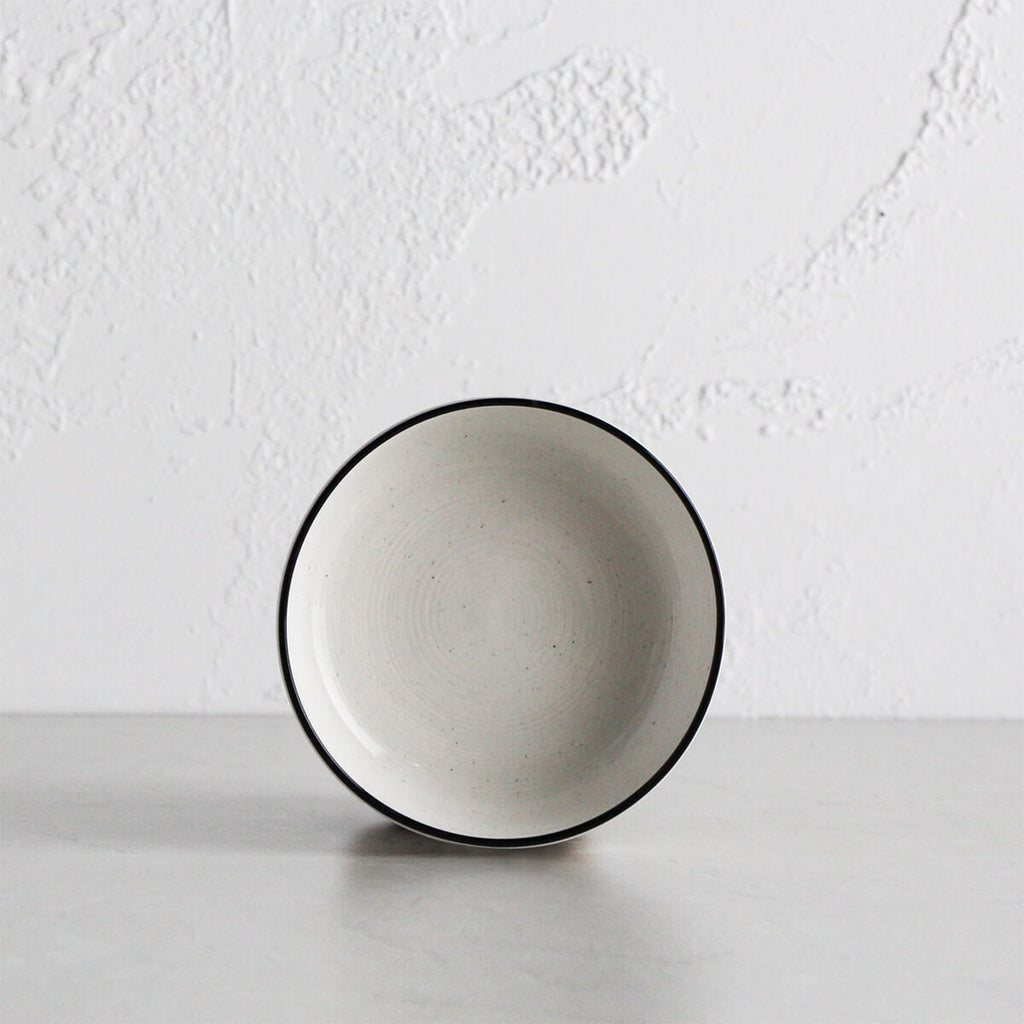 PROVENCE CERAMIC BOWL | WHITE WITH BLACK RIM |  STONEWARE SERVING BOWL