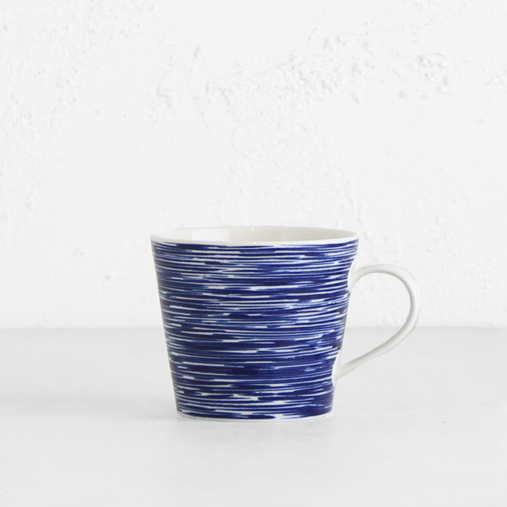 ROYAL DOULTON  | COFFEE MUG  |  BLUE TEXTURED STRIPES
