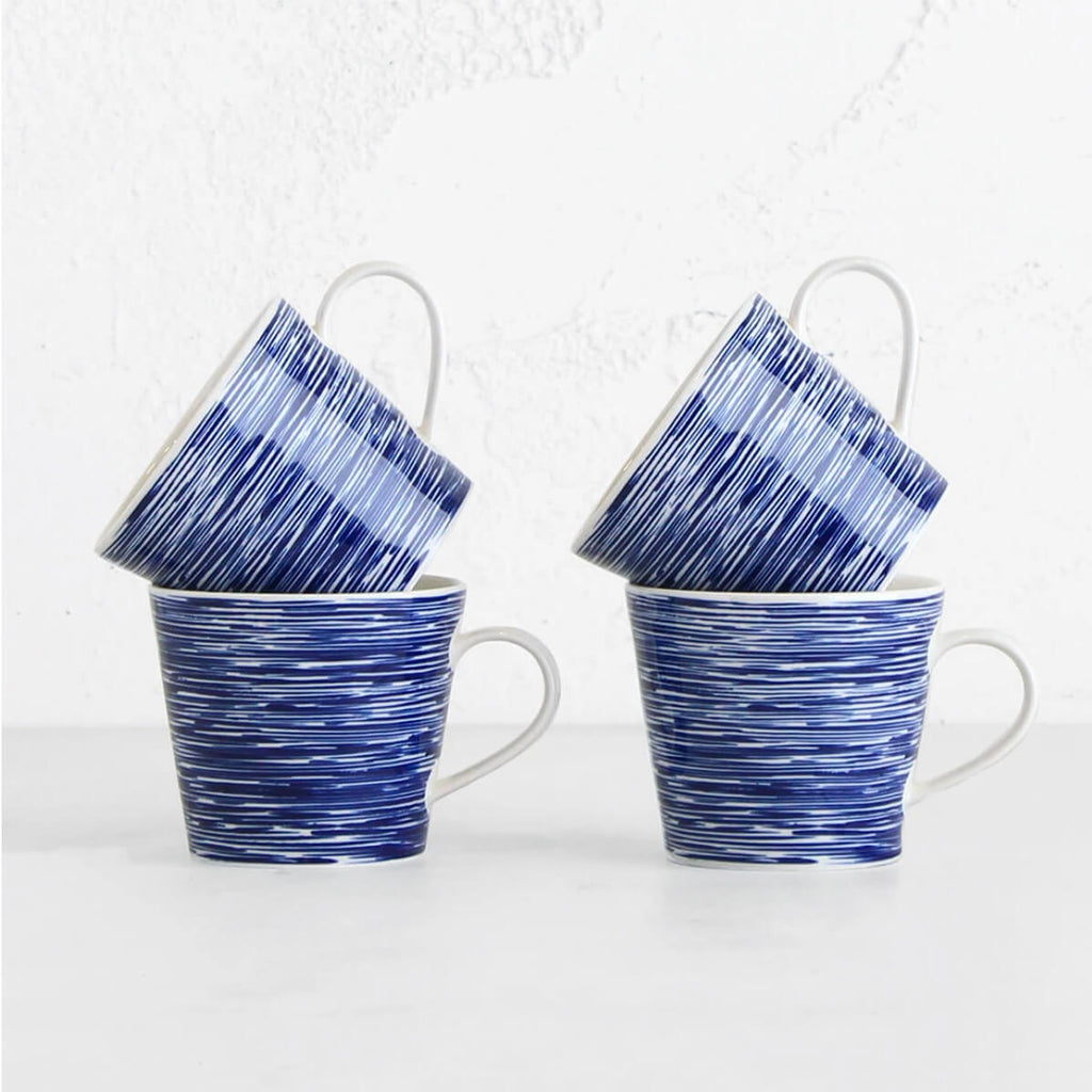 ROYAL DOULTON  | MUG  |  BLUE TEXTURE SET OF 4