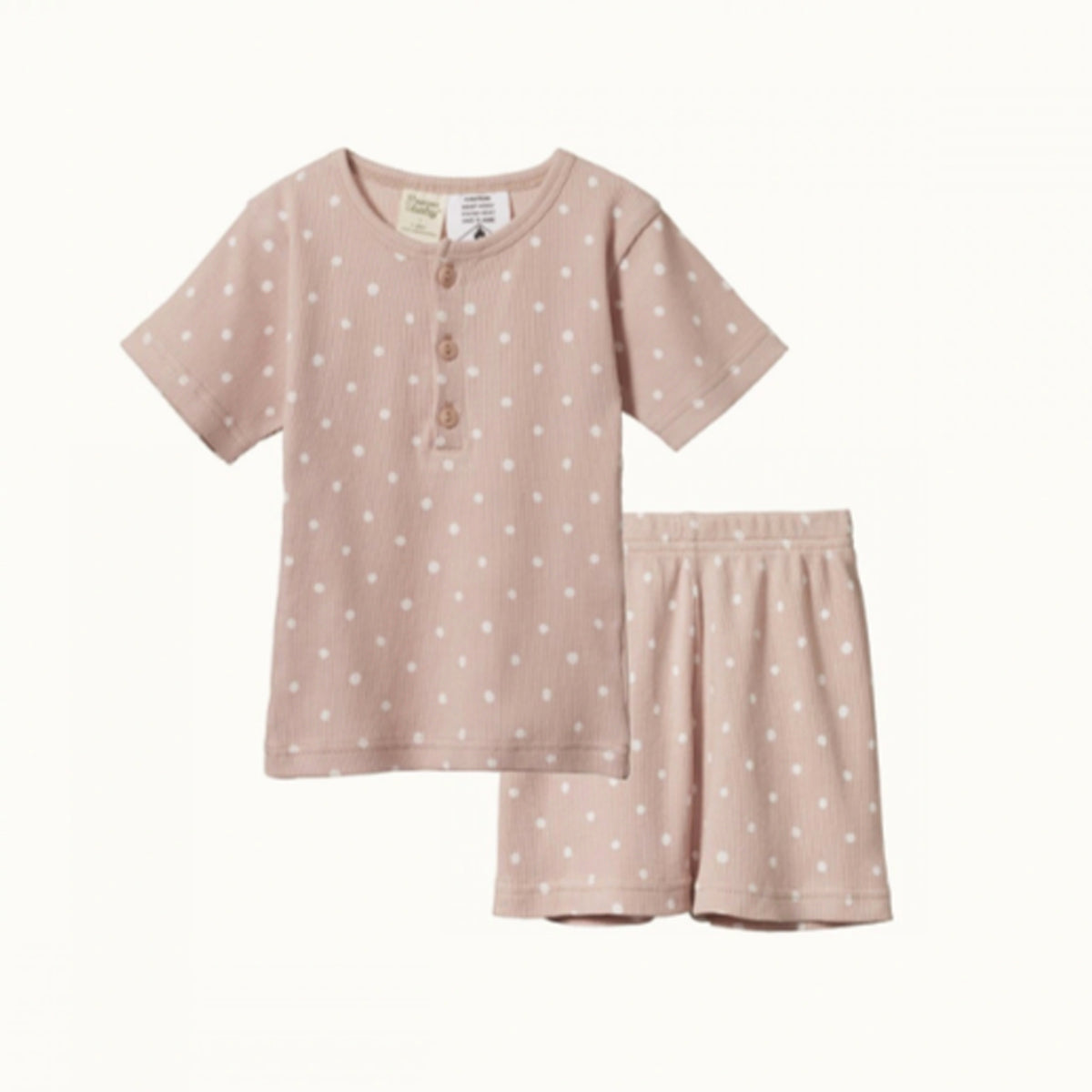 NATURE BABY  |  SHORT SLEEVE COTTON RIB PYJAMA SET |  DOTTIE ROSE BUD PRINT