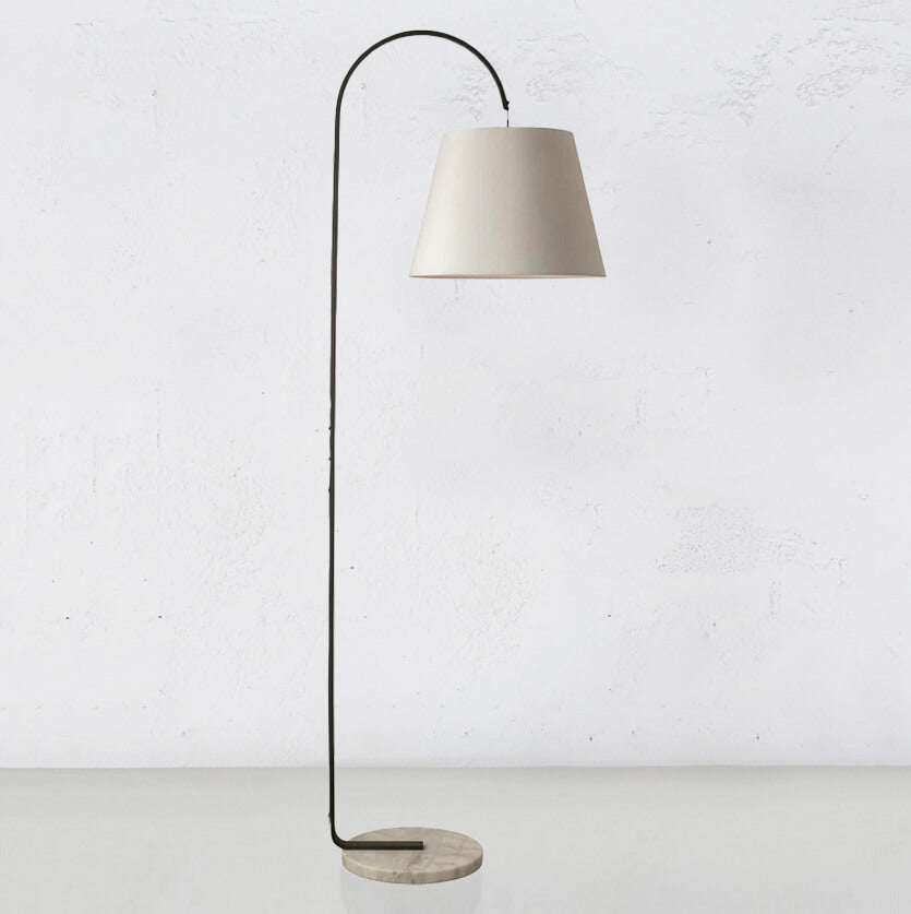 SILAS CHARCOAL + MARBLE FLOOR LAMP WITH WHITE SHADE