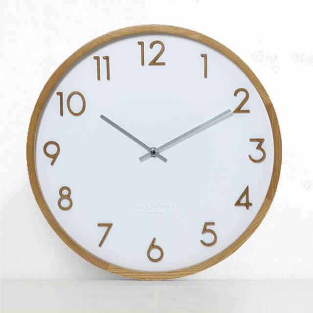 ONE SIX EIGHT LONDON  |  SCARLETT WALL CLOCK  |  WHITE & WOOD  |  50CM