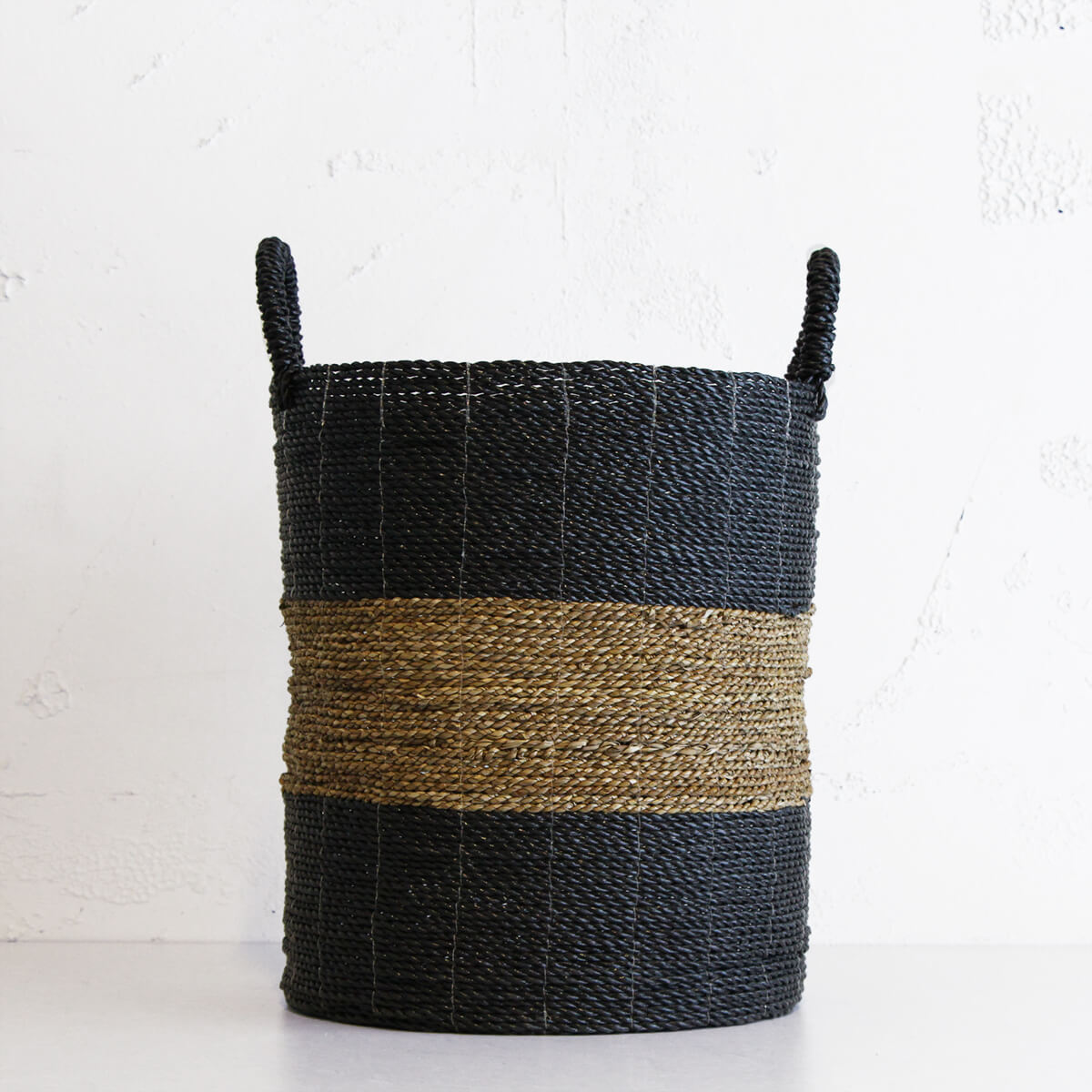 SEAGRASS STORAGE BASKET  |  BLACK + NATURAL STRIPE  |  TALL