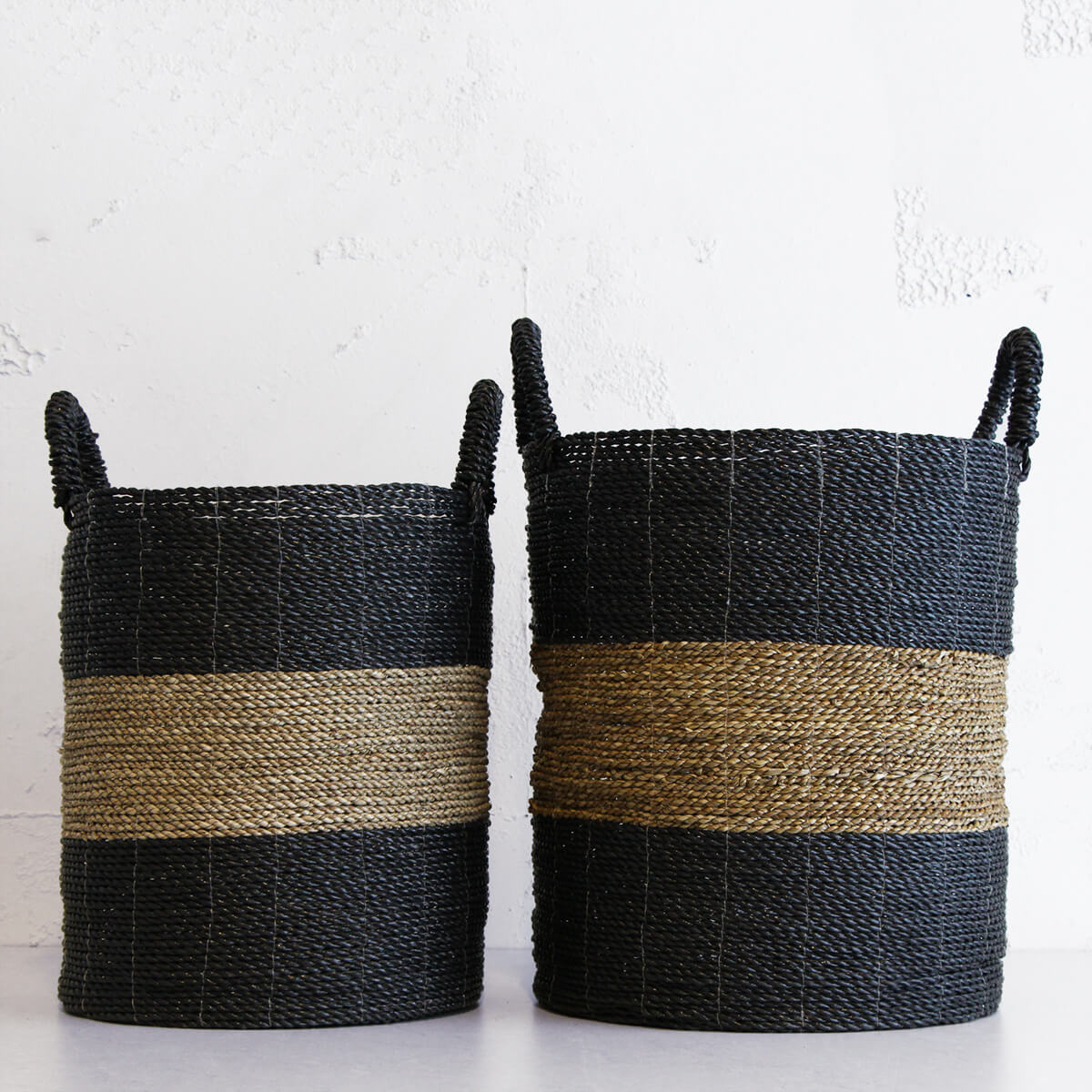 SEAGRASS STORAGE BASKET | BLACK + NATURAL STRIPE | TALL + MEDIUM PACKAGE