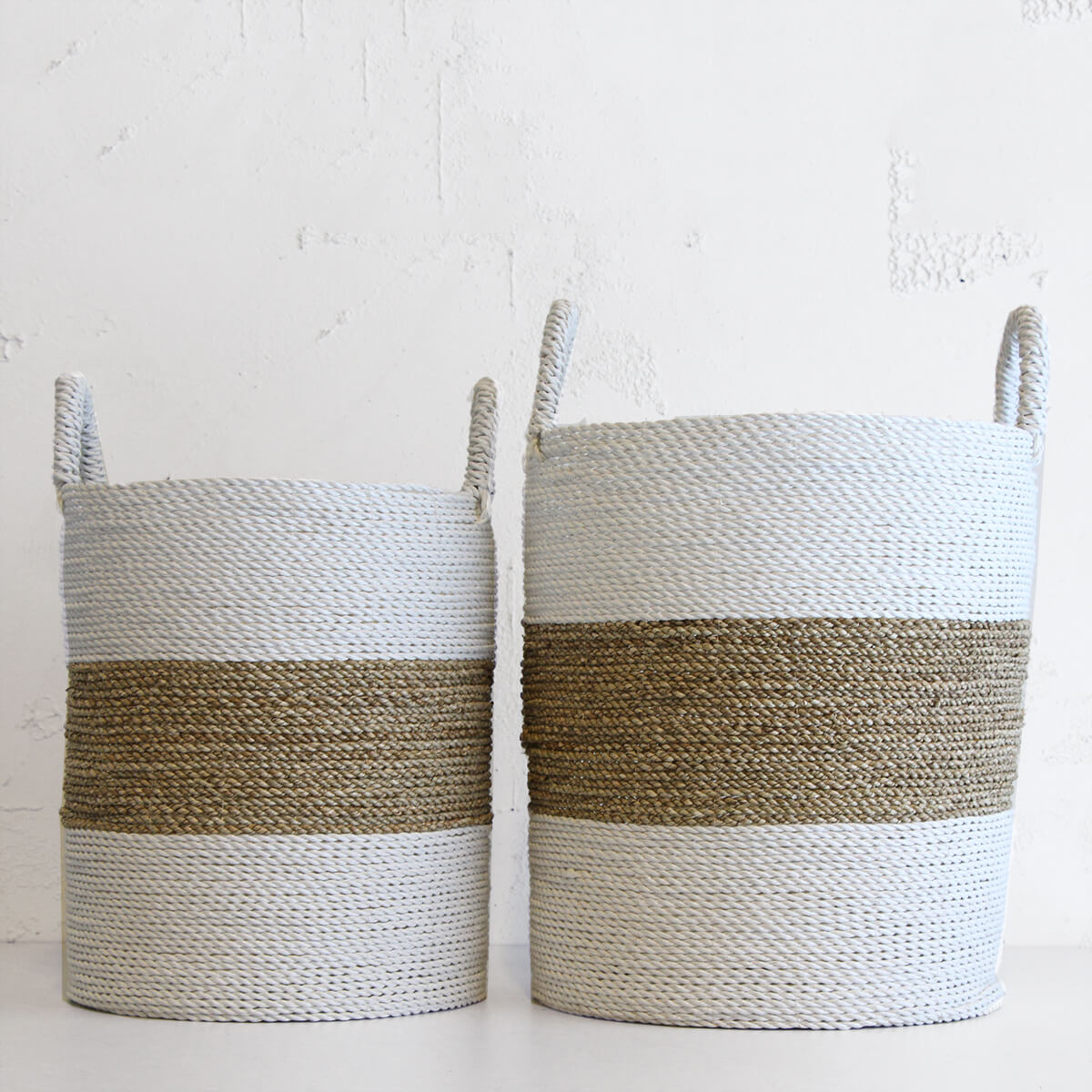 SEAGRASS STORAGE BASKET | WHITE + NATURAL STRIPE | TALL + MEDIUM PACKAGE