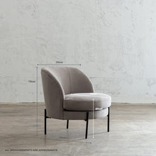 SEVILLA MODERNA TUB CHAIR   |  OYSTER LINEN WITH MEASUREMENTS