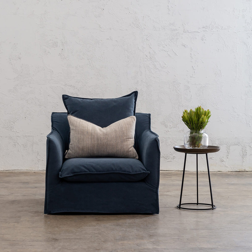 SEVILLA SLIP COVER ARM CHAIR  |  MIDNIGHT DENIM BLUE  |  LOUNGE FURNITURE