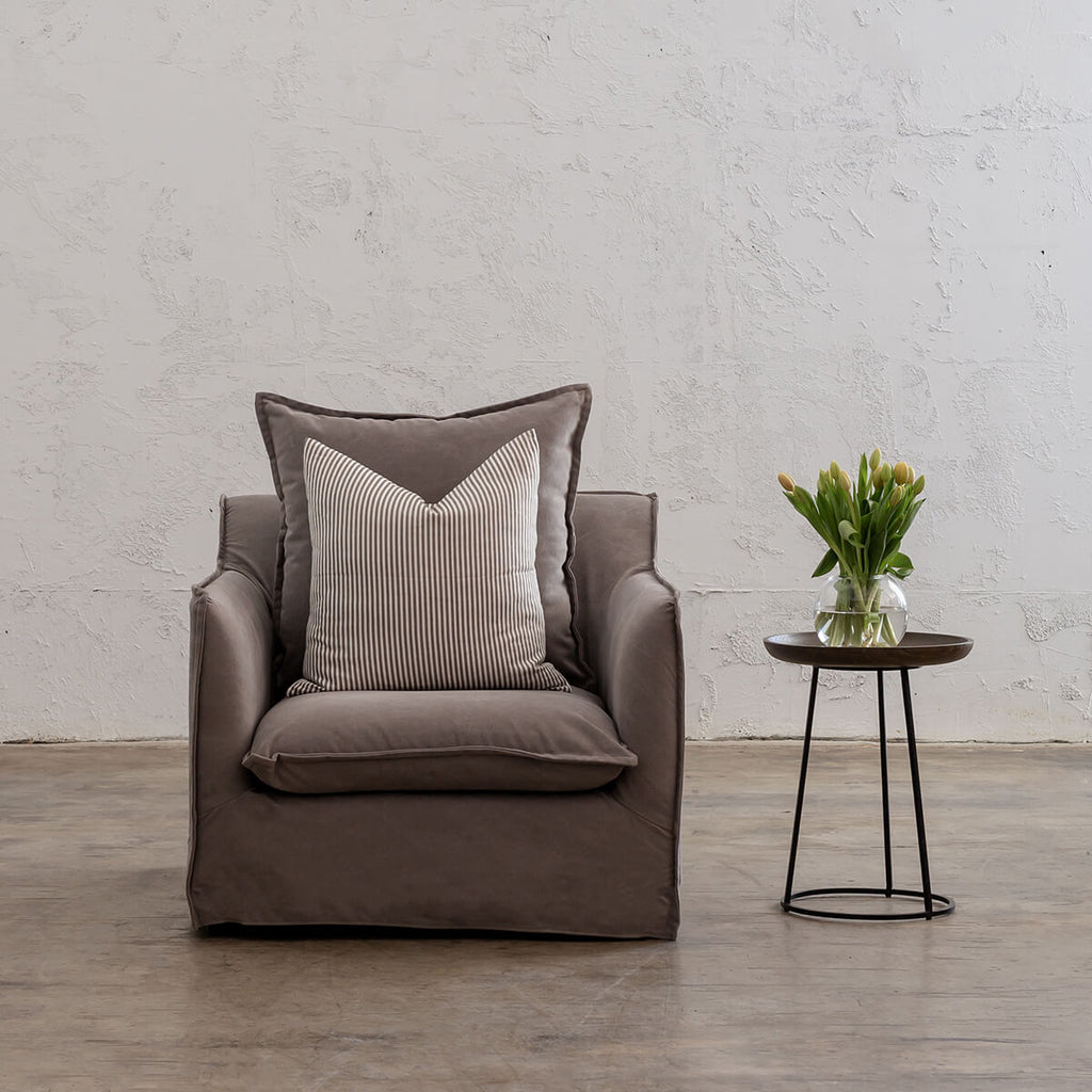 SEVILLA SLIP COVER ARM CHAIR  |  OYSTER LINEN GREY  |  LOUNGE FURNITURE