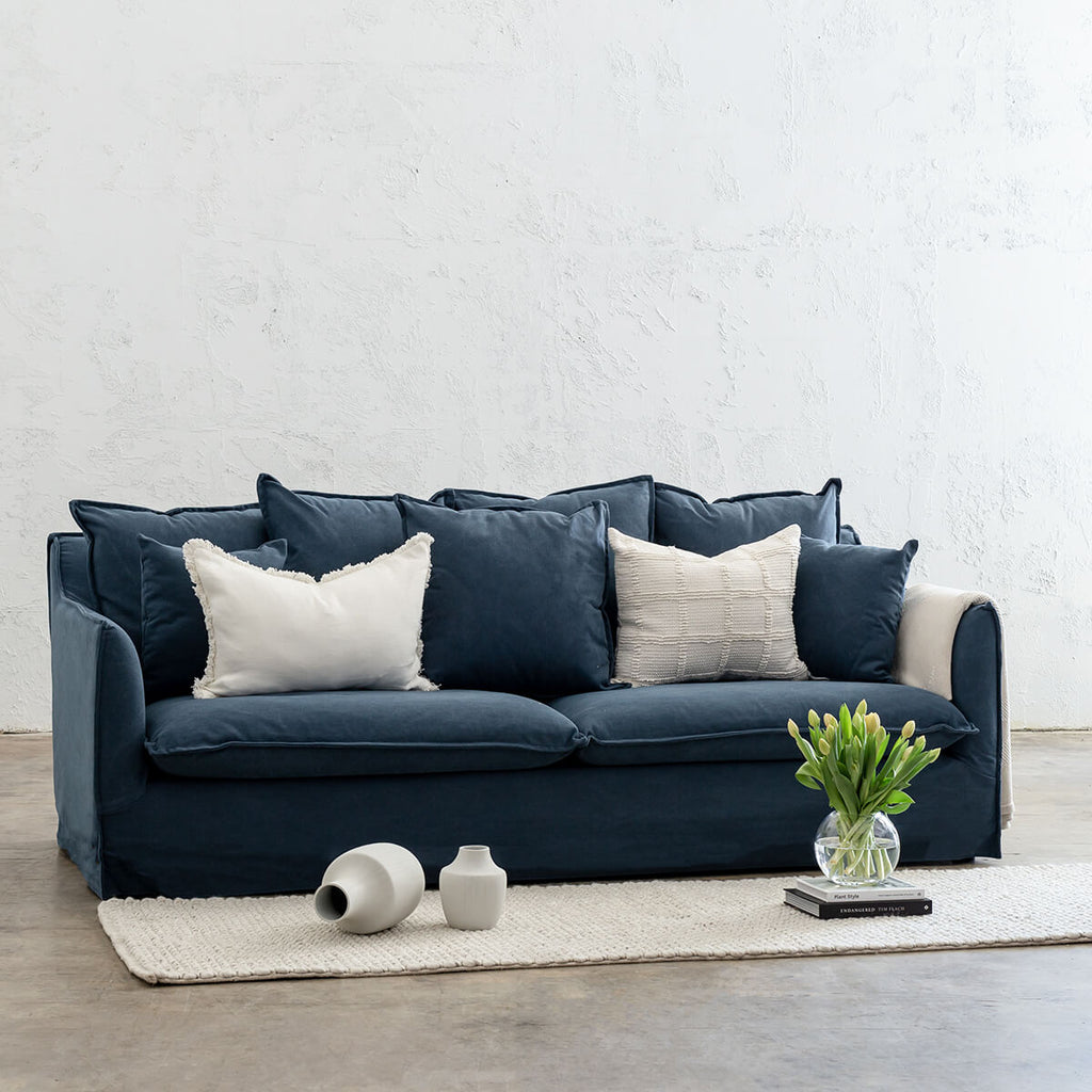 SEVILLA SLIP COVER 3 SEATER SOFA  |  MIDNIGHT DENIM BLUE   |  LOUNGE FURNITURE