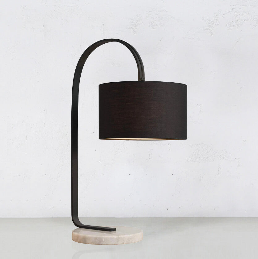 SILAS CHARCOAL + MARBLE TABLE LAMP WITH BLACK SHADE