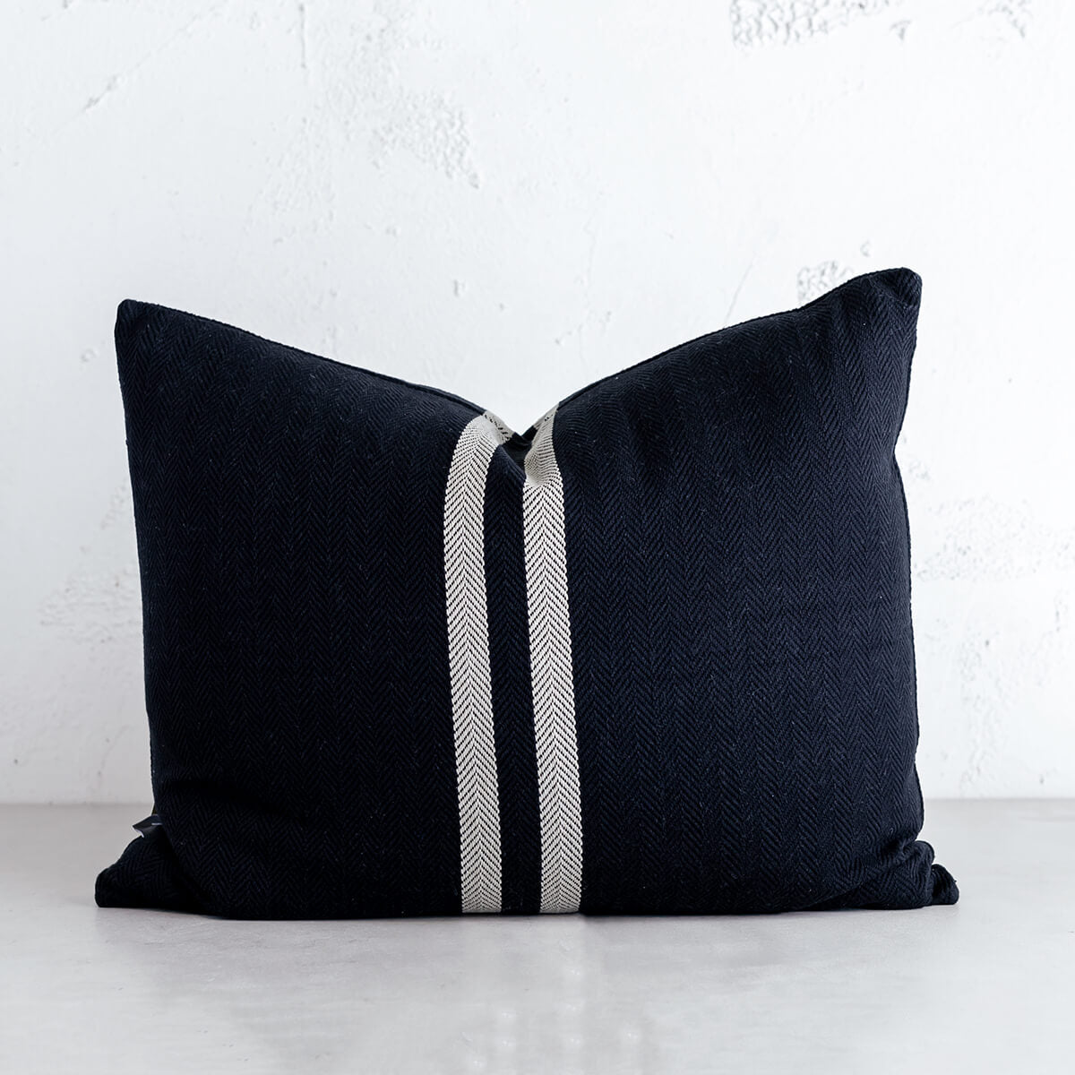SIMPATICO CUSHION  |  60 x 50cm  |  BLACK + NATURAL STRIPE  |  FEATHER FILLED SCATTER CUSHION