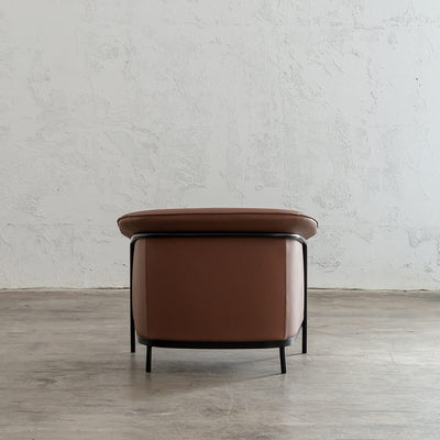 SOLANO MID CENTURY VEGAN LEATHER ARM CHAIR | TERRA BROWN  | FAUX LEATHER TUB CHAIR