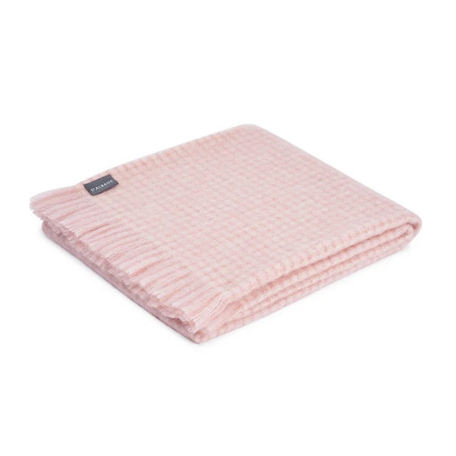 ST ALBANS MOHAIR THROW RUG  |  SHELLY PINK  |  WINTER BLANKET FOLDED
