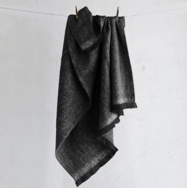 ST ALBANS MOHAIR THROW RUG  |  MAGGIE CHARCOAL