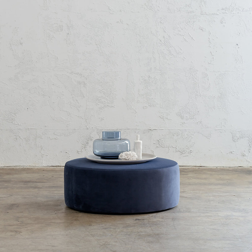 STOCKTON UPHOLSTERED FABRIC OTTOMAN FOOTSTOOL  |  BLUE REGAL  |  POWDER ROOM TABLE