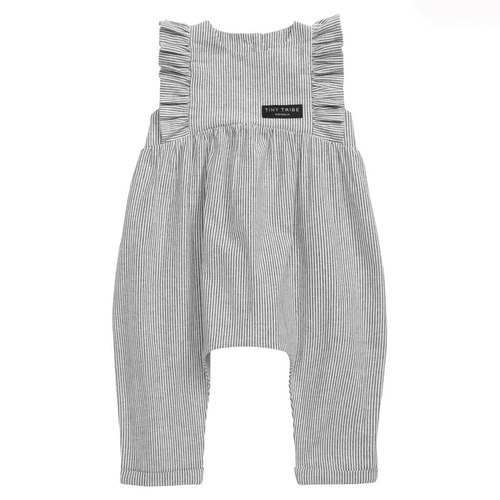 Tiny Tribe Frill Balloon Romper Grey and White Stripe