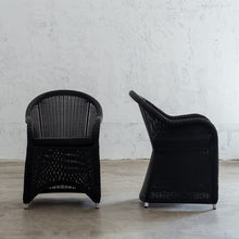 LECCO HAMPTON INSPIRED RATTAN WOVEN VERONA CHAIR | CARBON BLACK WICKER SIDE VIEW