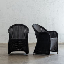 LECCO HAMPTON INSPIRED RATTAN WOVEN VERONA CHAIR | CARBON BLACK WICKER ANGLE VIEW
