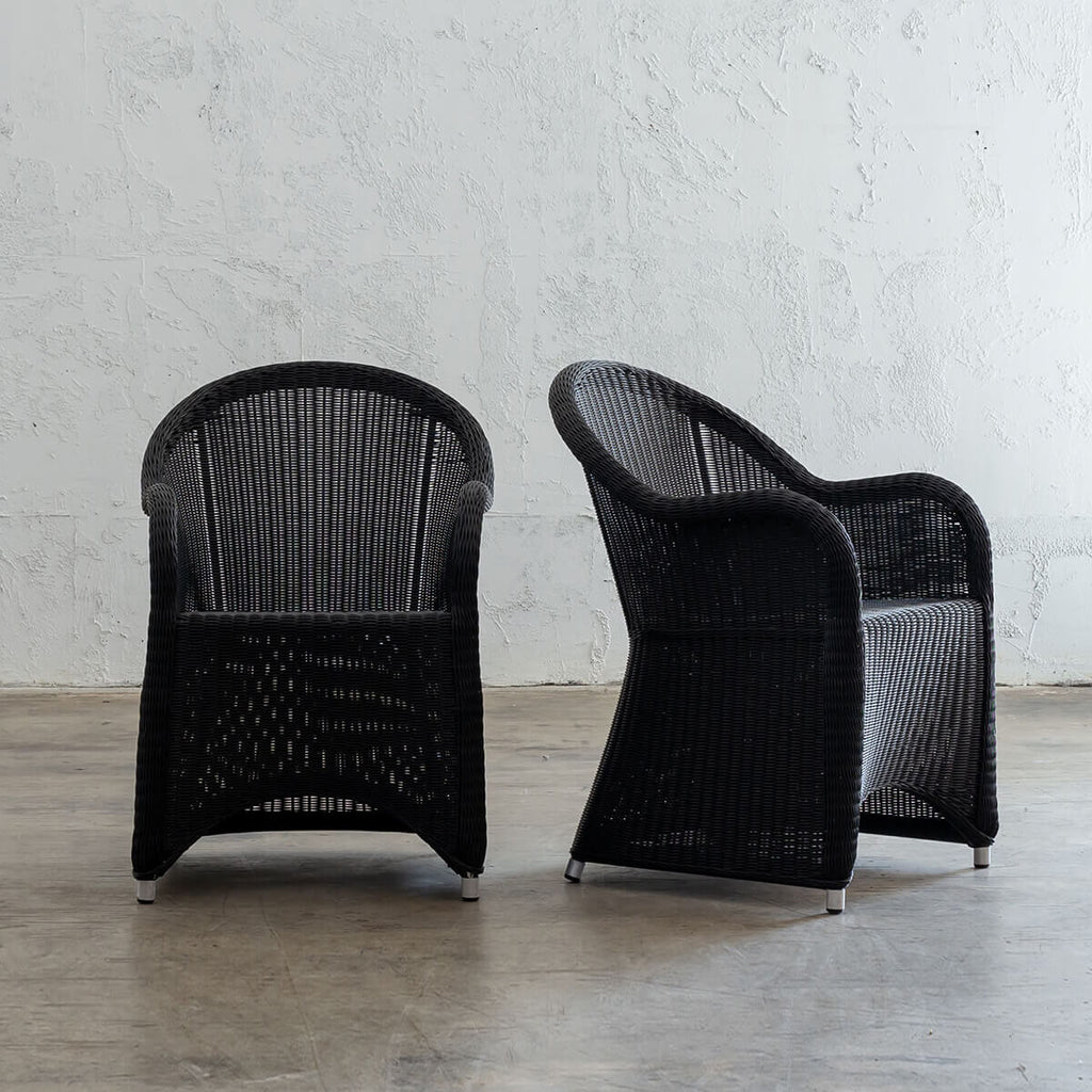 LECCO HAMPTON INSPIRED RATTAN WOVEN VERONA CHAIR  |  CARBON BLACK WICKER  |  BUNDLE x 2