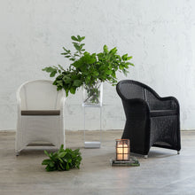 LECCO HAMPTON INSPIRED RATTAN WOVEN VERONA CHAIR | CARBON BLACK WICKER AND WHITE
