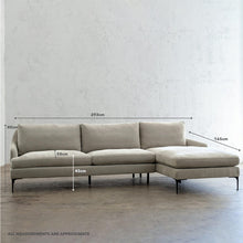 VITTORIA MODULAR SOFA CHAISE  |  CASHMERE SMOKE WITH MEASUREMENTS