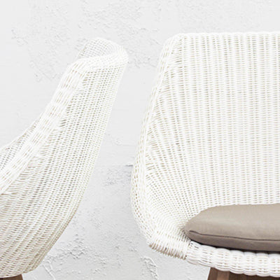 LECCO HAMPTON INSPIRED RATTAN WOVEN DINING CHAIR  |  WHITE WICKER  |  INDOOR + OUTDOOR FURNITURE