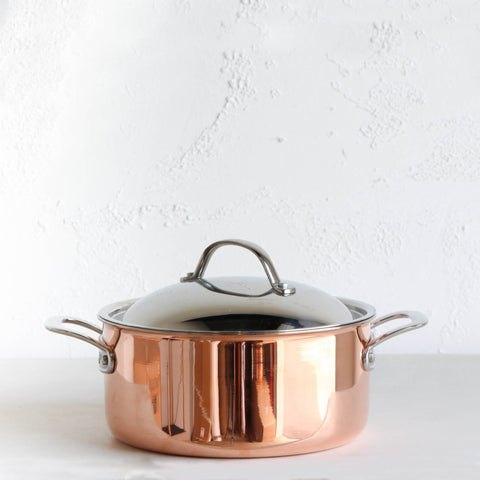 CHASSEUR COPPER COVERED CASSEROLE POT |  24CM