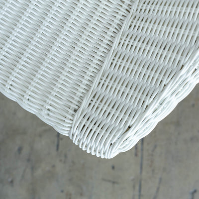 LECCO HAMPTON INSPIRED RATTAN WOVEN WAVE ARM CHAIR  |  WHITE WICKER