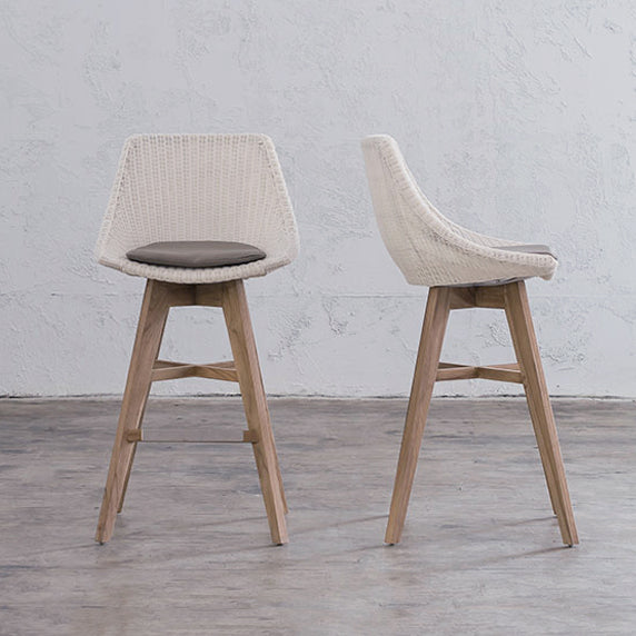 LECCO HAMPTON INSPIRED RATTAN WOVEN BAR CHAIR  |  WHITE WICKER NOOSA DINING CHAIR