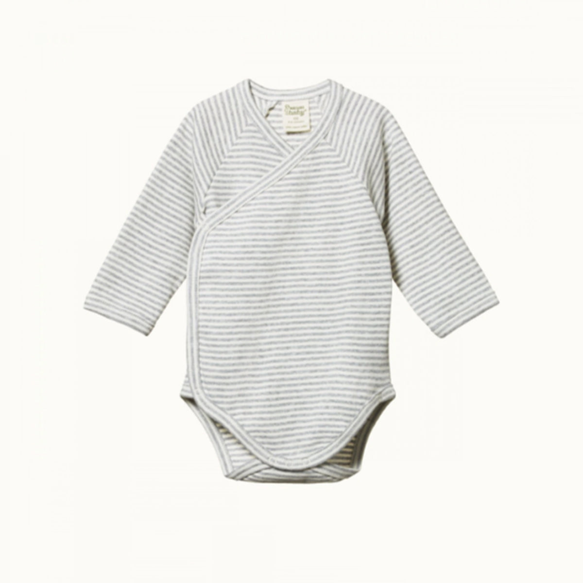NATURE BABY  |  LONG-SLEEVE KIMONO BODYSUIT  |  GREY MARLE STRIPE