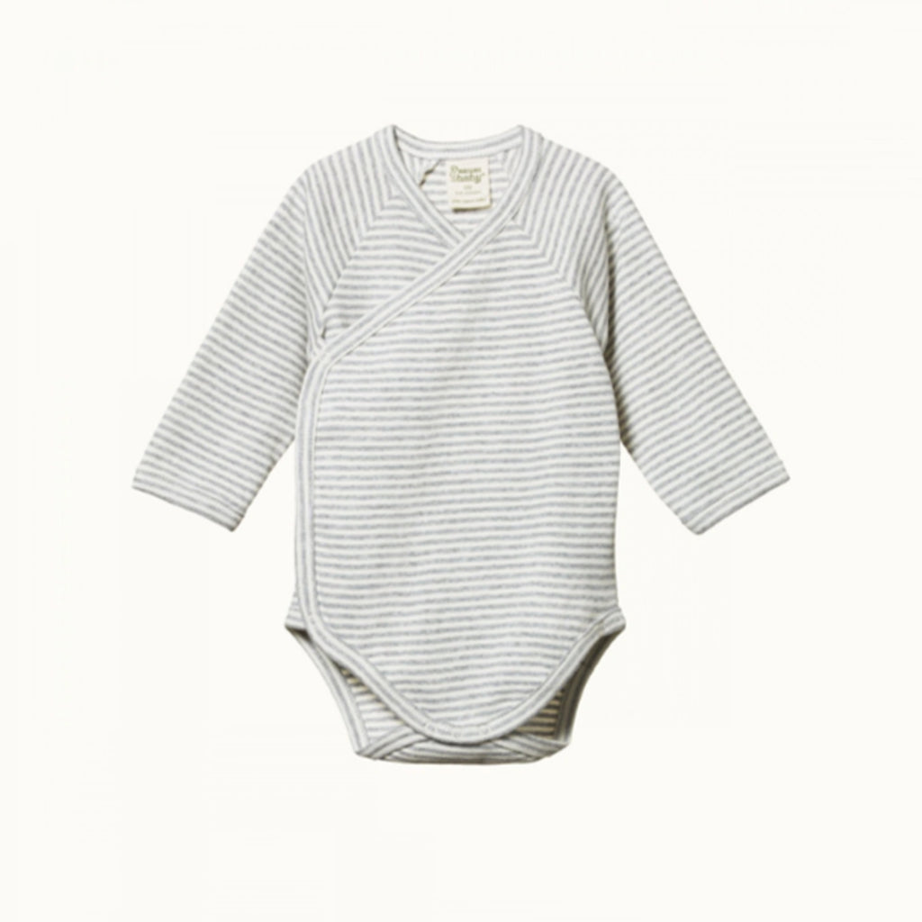 NATURE BABY  |  LONG-SLEEVE KIMONO BODYSUIT  |  GREY MARLE STRIPE  |  BABYWEAR GROWSUIT