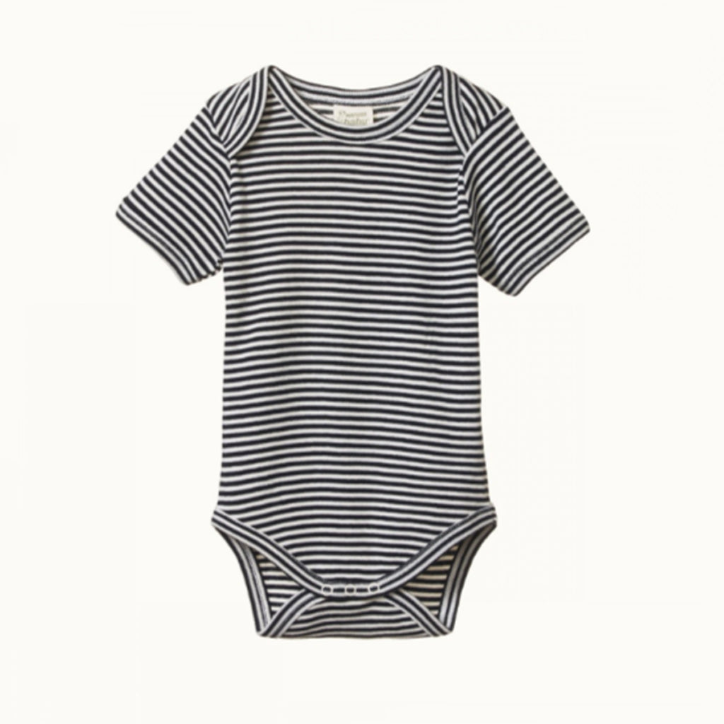 NATURE BABY  |  SHORT-SLEEVE BODYSUIT  |  NAVY STRIPE BABY GROWSUIT