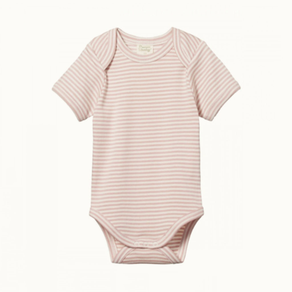 NATURE BABY  |  SHORT-SLEEVE BODYSUIT  |  ROSE BUD STRIPE BABY GROWSUIT