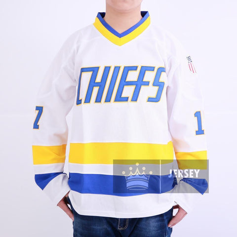 Slap Shot Reggie Dunlop 7 Charlestown Chiefs Hockey Jersey White Stitched