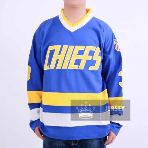 Slap Shot Dave Killer Carlson 3 Charlestown Chiefs Hockey Jersey Blue Stitched