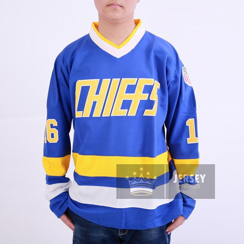 Slap Shot Jack Hanson 16 Charlestown Chiefs Hockey Jersey Blue