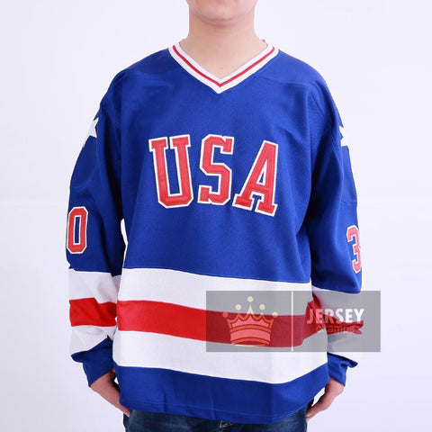 1980 Miracle On Ice Team USA Jim Craig Hockey Jersey Blue