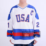 1980 Miracle On Ice #21 Mike Eruzione USA Hockey Jersey White Blue - Jersey Champs