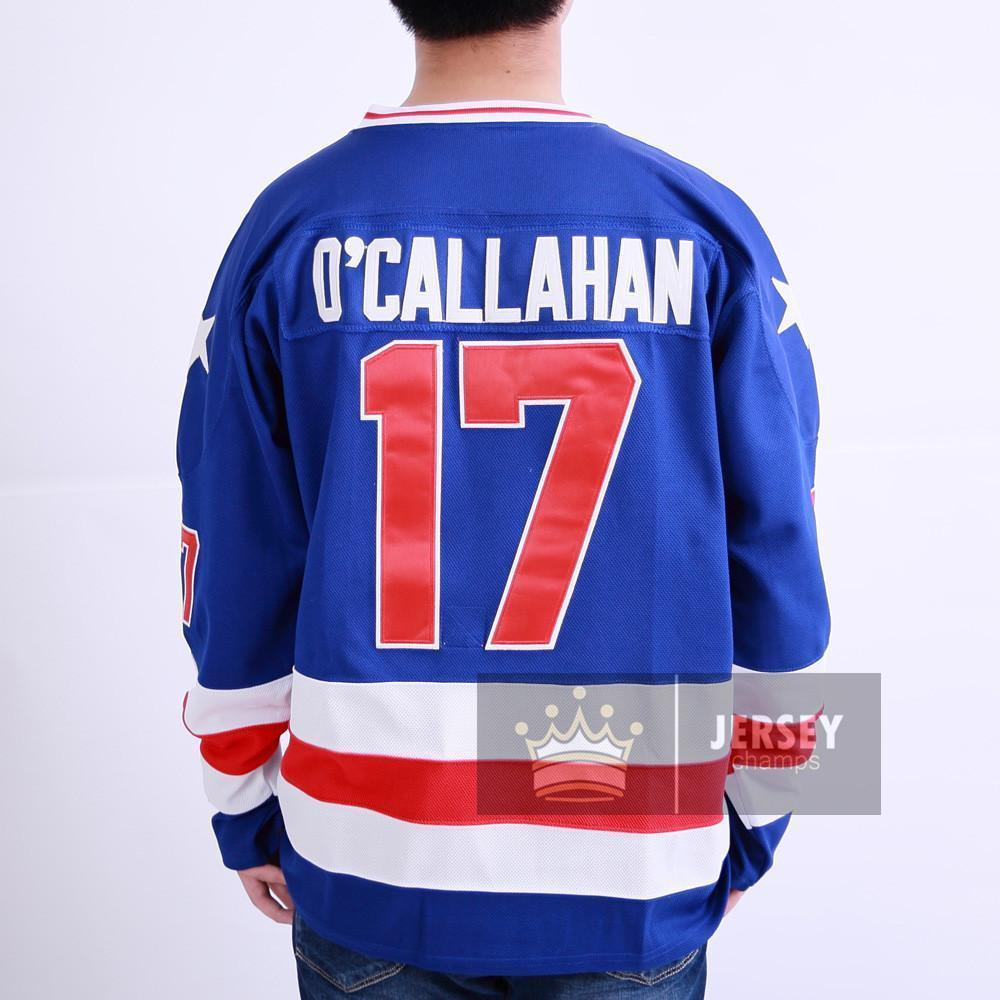1980 Miracle On Ice Jack O'Callahan 17 USA Hockey Jersey White Blue - Jersey Champs