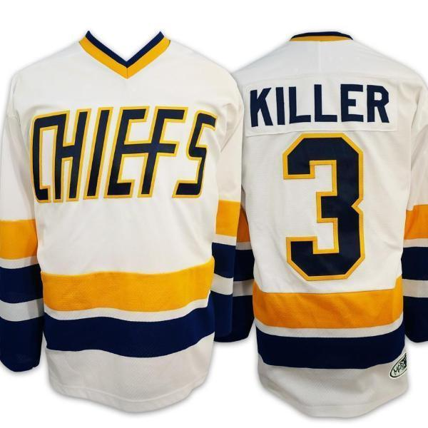 Slap Shot Dave Killer Carlson 3 Charlestown Chiefs Hockey Jersey White Stitched - Jersey Champs
