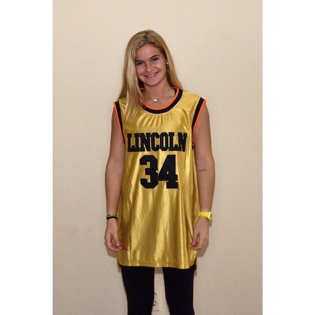 Gold Ray Allen Jesus Shuttlesworth 34 Lincoln High School Stitched Basketball Jersey - Jersey Champs